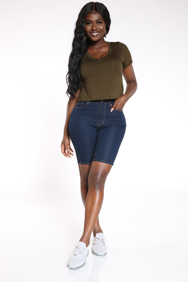 Women's High Waist Bermuda - Dark Blue