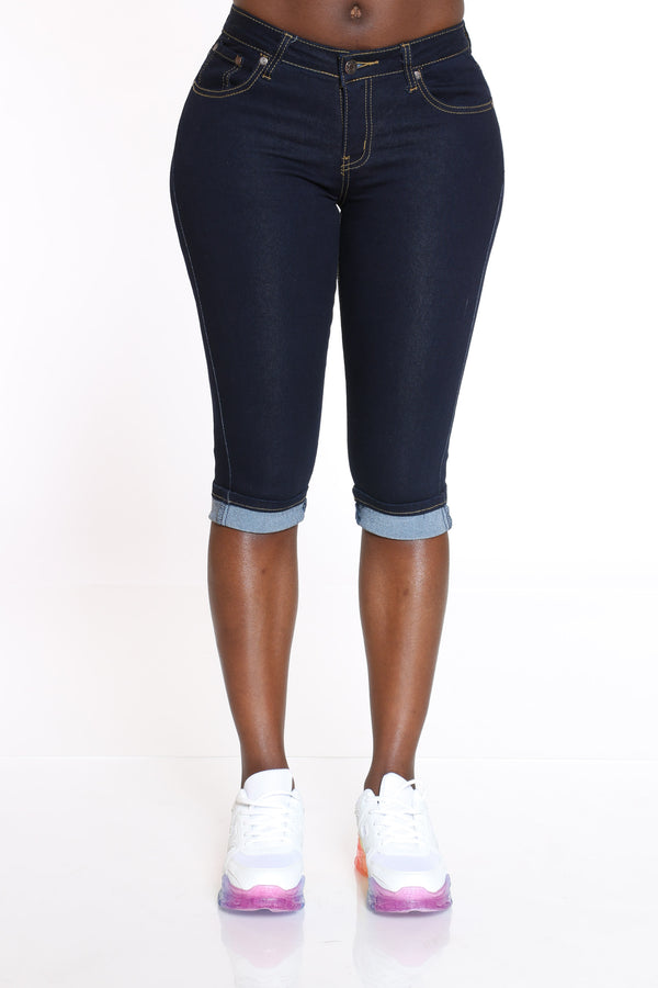 Women's Cuffed Bottom Capri - Dark Blue-VIM.COM