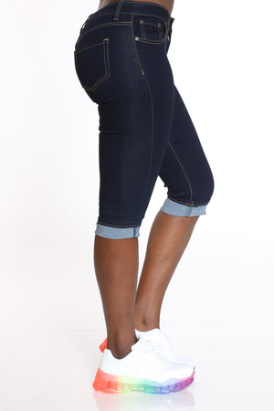 Women's Cuffed Bottom Capri - Dark Blue