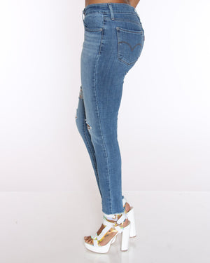 LEVI'S 711 Ripped & Fray Hem Skinny Jean - Hawaii Blue - ShopVimVixen.com