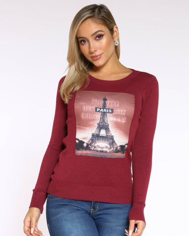 Women's Paris Eiffel Tower Top - Wine