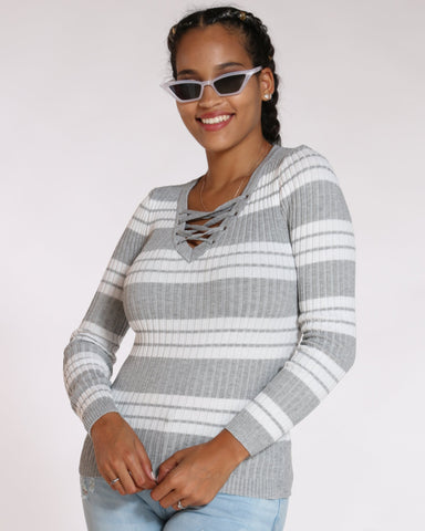 Women's Dorothy Stripe Lace Up V Neck Sweater - Heather Grey Off White