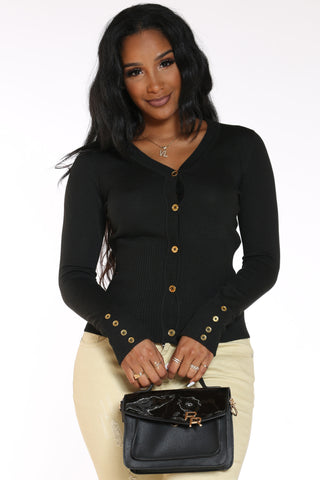 Women's Ariel Gold Button Cardigan Top - Black-VIM.COM