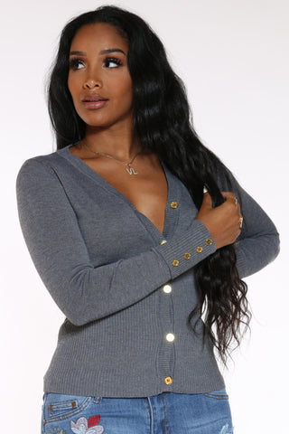 Women's Ariel Gold Button Cardigan Top - Dark Grey-VIM.COM