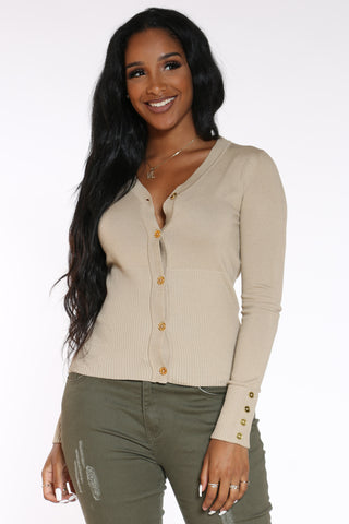Women's Ariel Gold Button Cardigan Top - Khaki-VIM.COM
