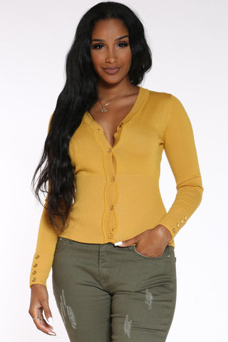 Women's Gold Button Cardigan Top - Mustard-VIM.COM
