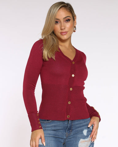 Women's Ariel Gold Button Cardigan Top - Burgundy