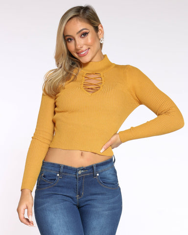 Women's Raquel Front Lace Crocker Top - Gold