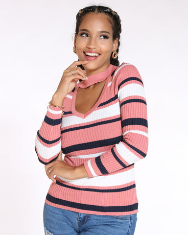 VIM VIXEN Moore Striped Choker Neck Sweater - Mauve - ShopVimVixen.com