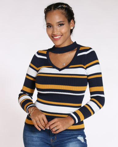 VIM VIXEN Moore Striped Choker Neck Sweater - Navy - ShopVimVixen.com
