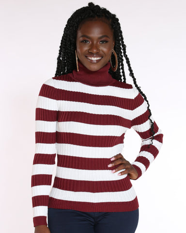 VIM VIXEN Judith Striped Turtleneck Sweater - Burgundy - ShopVimVixen.com
