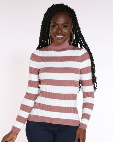 VIM VIXEN Judith Striped Turtleneck Sweater - Brick Dust - ShopVimVixen.com