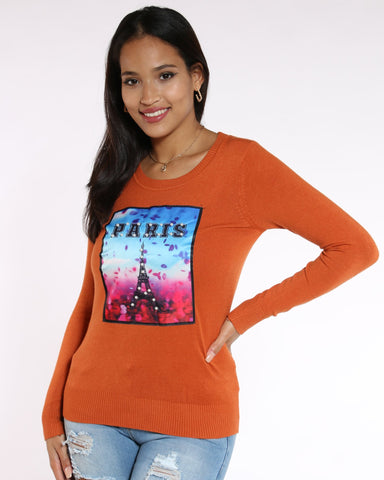 VIM VIXEN Patty Paris Pearls Patch Sweater - Rust - ShopVimVixen.com
