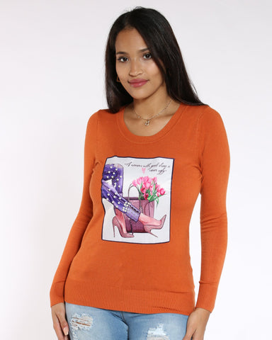 VIM VIXEN Louis Heels & Flowers Pearls Sweater - Rust - ShopVimVixen.com