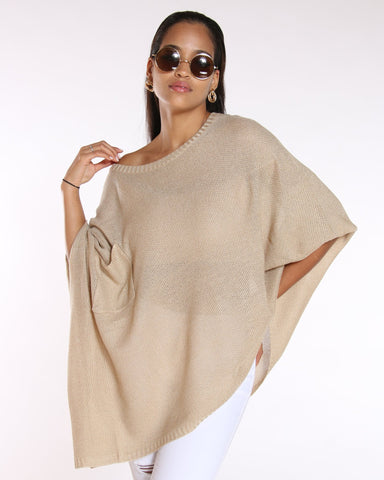 VIM VIXEN Lurex Poncho Look Light Sweater - Beige - ShopVimVixen.com