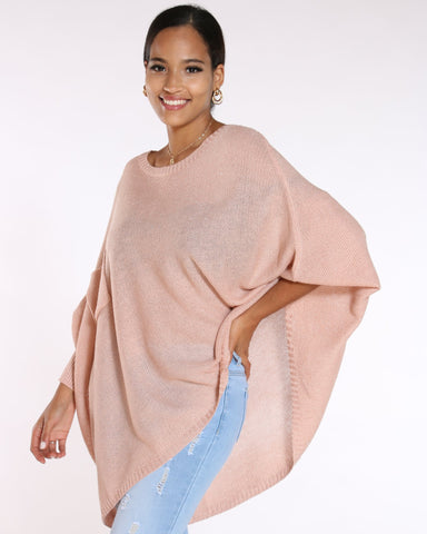 VIM VIXEN Lurex Poncho Look Light Sweater - Pink - ShopVimVixen.com