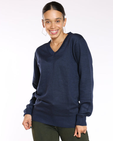 VIM VIXEN Jaelyn Solid V Neck Sweater - Navy - ShopVimVixen.com