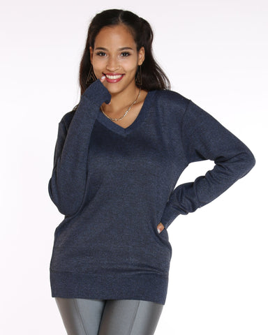 VIM VIXEN Lilith Solid V Neck Sweater - Navy - ShopVimVixen.com