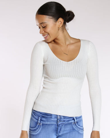 VIM VIXEN Holly Lace Up Back Ribbed Sweater - White - ShopVimVixen.com