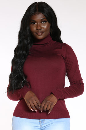 Women's Turtle Neck Sweater - Burgundy-VIM.COM