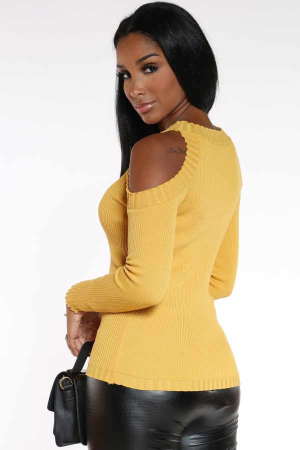 Date Night Cold Shoulder Sweater - Mustard