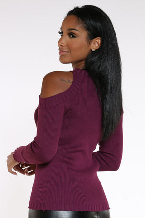 Date Night Cold Shoulder Sweater - Purple