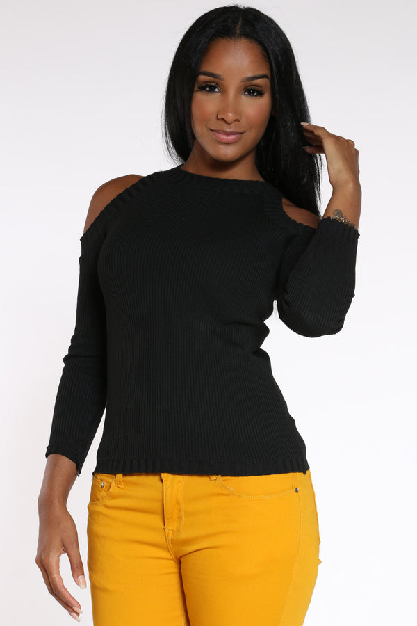 Women's Off Shoulder Sweater - Black-VIM.COM