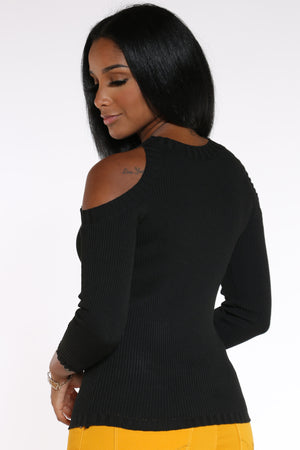 Date Night Cold Shoulder Sweater - Black