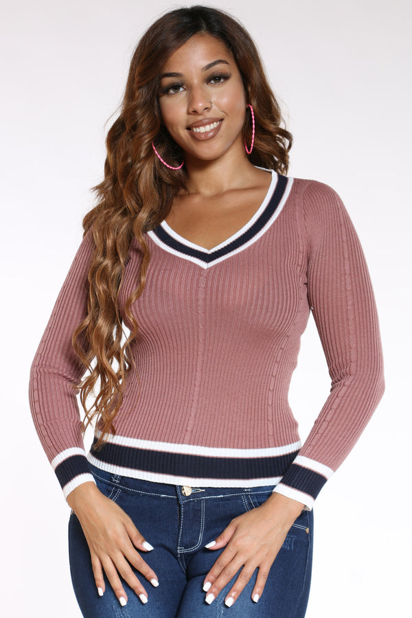 Women's V Neck Two Tone Sweater - Mauve-VIM.COM