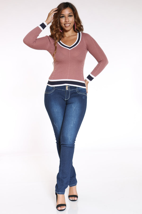 Women's V Neck Two Tone Sweater - Mauve