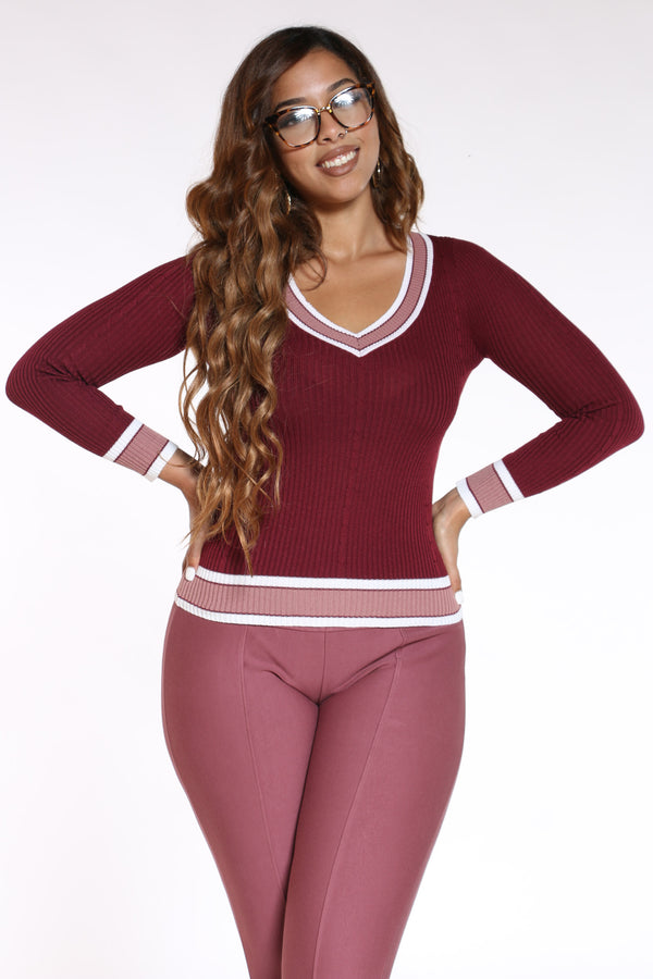Women's V Neck Two Tone Sweater - Burgundy-VIM.COM