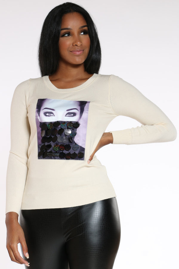 Women's Girl Sequins Sweater - Ivory-VIM.COM