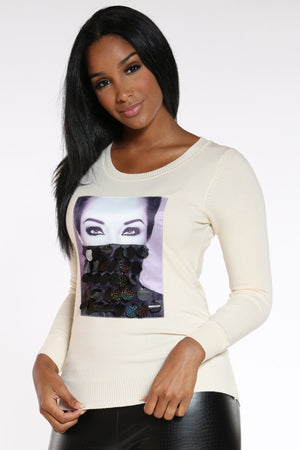 Look At Me Sequin Sweater - Ivory