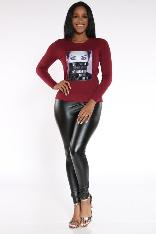 Look At Me Sequin Sweater - Wine