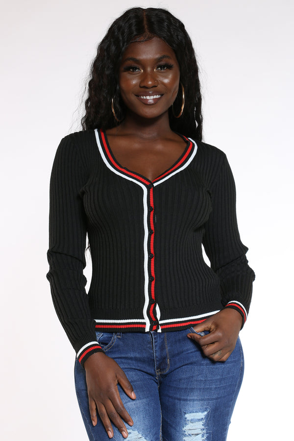 Women's 2 Color Stripe V Neck Cardigan Sweater - Black-VIM.COM