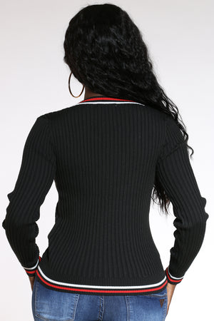 Women's 2 Color Stripe V Neck Cardigan Sweater - Black