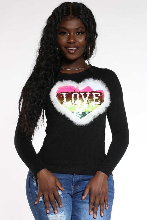 Women's Love Heart Sequins Fur Sweater - Black-VIM.COM