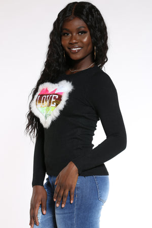 Women's Love Heart Sequins Fur Sweater - Black
