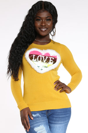 Women's Love Heart Sequins Fur Sweater - Mustard-VIM.COM