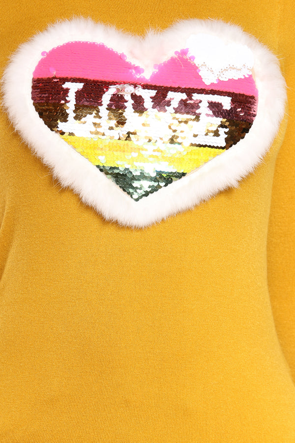 Women's Love Heart Sequins Fur Sweater - Mustard