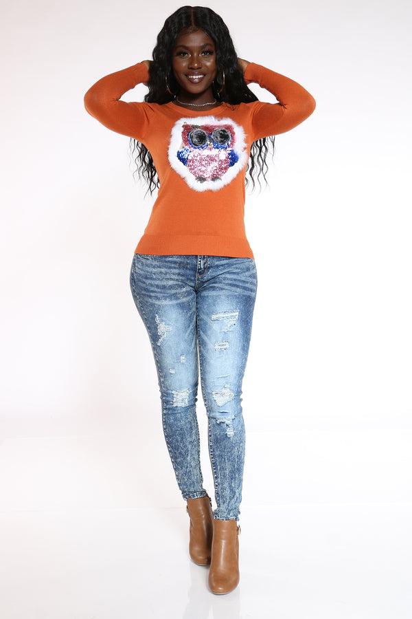 Women's Owl Sequins Faux Fur Sweater - Rust