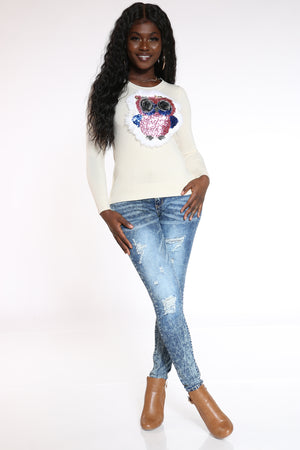 Women's Owl Sequins Faux  Fur Sweater - Ivory