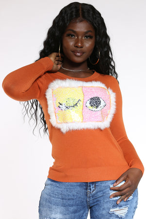 Women's Eyelashes Sequins Sweater - Rust-VIM.COM