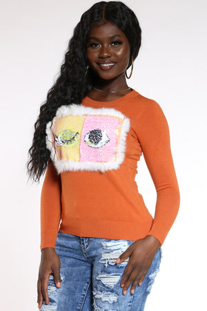 Women's Eyelashes Sequins Sweater - Rust