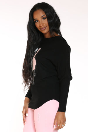 Women's Flamingo Rhinestone Sweater - Black
