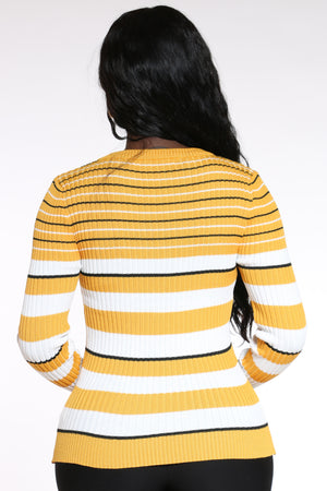 Hidden Truth Striped Crew Sweater - Gold