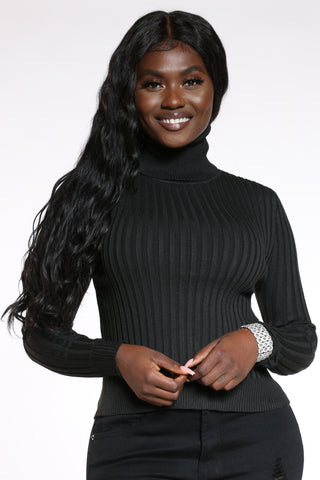 Women's Ribbed Turtle Neck Sweater - Black-VIM.COM