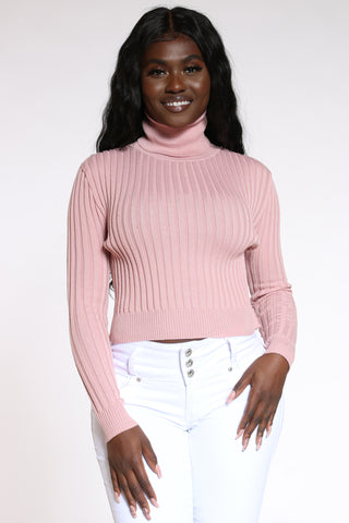 Women's Ribbed Turtle Neck Sweater - Mauve-VIM.COM