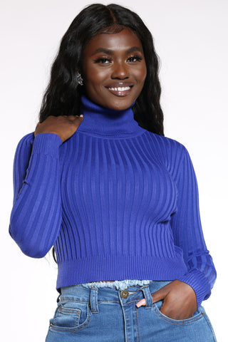 Women's Ribbed Turtle Neck Sweater - Royal-VIM.COM