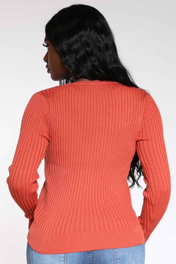 Don't Let Em' Fool You Ribbed V Neck Cardigan Sweater - Rust